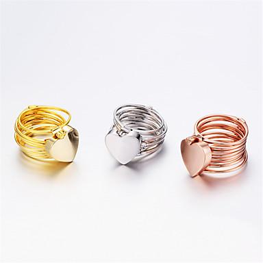 Žene Band Ring 1set Zlato Obala Rose Dnevno Jewelry Srce Heart