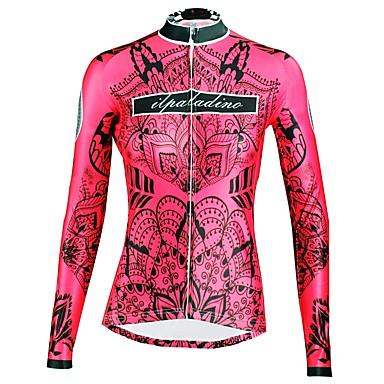 ILPALADINO בגדי ריקוד נשים שרוול ארוך חולצת ג'רסי לרכיבה - אדום פרחוני  בוטני אופנייים צמרות עמיד אולטרה סגול ספורט חורף אלסטיין רכיבת הרים רכיבת כביש ביגוד