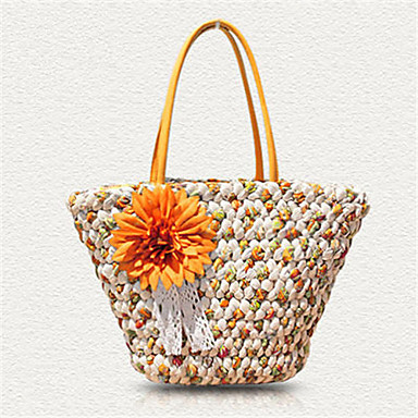 cheap Going to the beach-Women's Flower Tote Straw Orange / Fuchsia