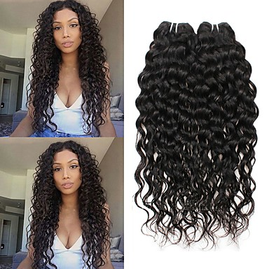 3 Bundles Brazilian Hair Water Wave 8A Human Hair Unprocessed Human Hair  Wig Accessories Headpiece Natural Color Hair Weaves   Hair Bulk 8-28 inch  Natural ... c64a833485