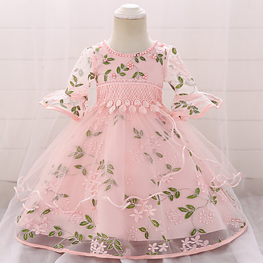 81f3b91d148da Baby Girls  Active   Basic Party   Birthday Solid Colored Half Sleeve Knee-length  Cotton   Polyester Dress Pink