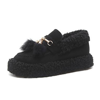c961112b457 Women s Faux Fur Spring   Fall   Winter Casual Loafers   Slip-Ons Flat Heel  Round Toe Pom-pom Black   Khaki