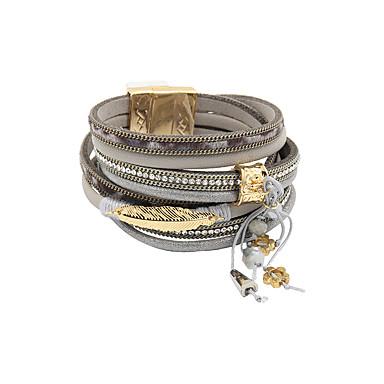 abordables Bracelet-Bracelets en cuir Bracelets de mémoire Femme Fantaisie Cuir Mode British Bracelet Bijoux Gris Bleu pour Cadeau Quotidien
