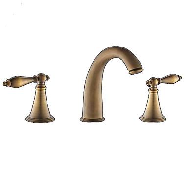 Waschbecken Wasserhahn - Verbreitete Antikes Messing 3-Loch-Armatur Drei Löcher / Zwei Griffe Drei LöcherBath Taps