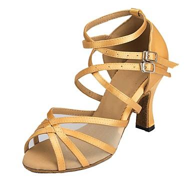 hesapli Latin Dans Ayakkabıları-Kadın's Dans Ayakkabıları Saten Latin Dans Ayakkabıları Topuklular Kıvrımlı Topuk Kişiselleştirilmiş Altın / Bej / EU40