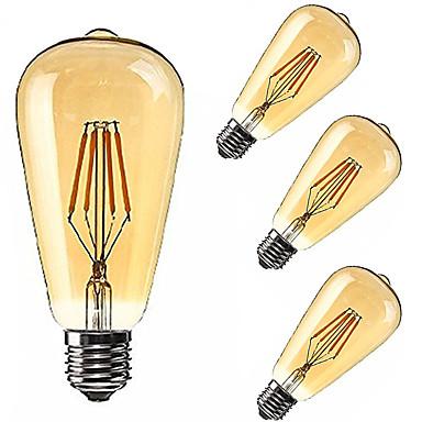 cheap LED Globe Bulbs-KWB 4pcs LED Globe Bulbs 2200 lm E26 / E27 ST64 4 LED Beads COB Dimmable Decorative Warm White 85-265 V / 4 pcs / RoHS