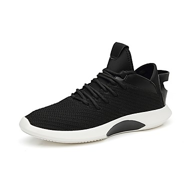 Men's Comfort Shoes Elastic Fabric Spring &  Fall Sneakers White / Black / Black / White
