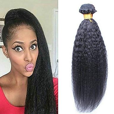 6 paketića Brazilska kosa Kinky Ravno Ljudska kosa Netretirana  ljudske kose Headpiece Ljudske kose plete Styling kose 8-28 inch Prirodna boja Isprepliće ljudske kose Waterfall Smooth proširenje / 8A