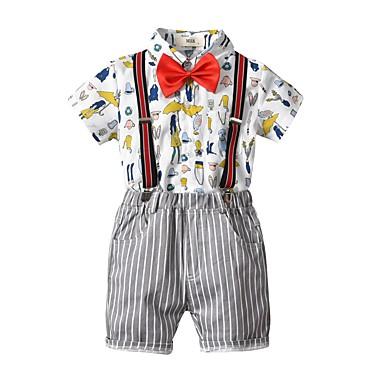cheap Boys' Clothing-Kids Boys' Basic Print Short Sleeve Cotton Clothing Set White