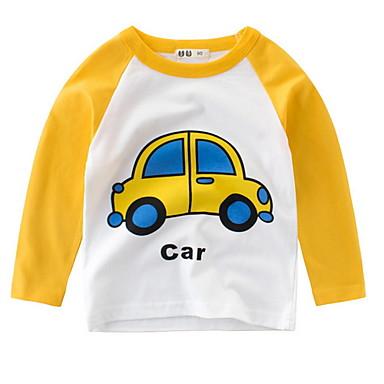 baratos Camisas para Meninos-Infantil Para Meninos Básico Sólido Manga Longa Camiseta Vermelho