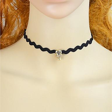 e61c50e18cca Collier Choker   Ras de Cou Femme Chaîne unique Dentelle Crâne Tete de Mort  dames simple Mode Adorable Noir 38 cm Colliers Tendance Bijoux 1pc pour  Fête ...