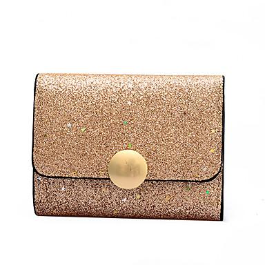 604b2f688f Γυναικεία Τσάντες PU Πορτοφόλια Κουμπί Συμπαγές Χρώμα Μαύρο   Ρουμπίνι    Ασημί