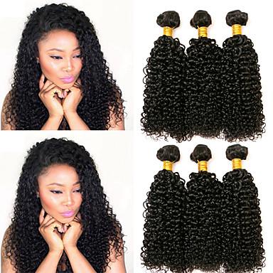 3 paketa Kovrčav Kinky Curly Ljudska kosa Netretirana  ljudske kose Ljudske kose plete Produžetak Bundle kose 8-28 inch Prirodna boja Isprepliće ljudske kose novorođenče Nježno Visokog sjaja / 8A