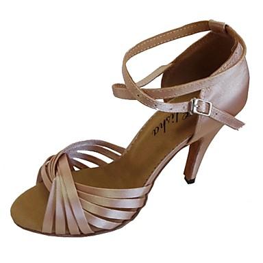 baratos Super Ofertas-Mulheres Sapatos de Dança Cetim Sapatos de Dança Latina Salto Salto Carretel Personalizável Preto / Azul marinho / Amêndoa / EU38