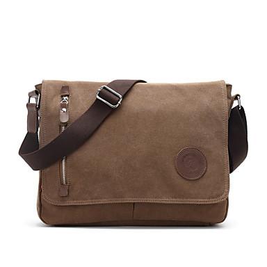 Muškarci Patent-zatvarač Torba za rame Platnenu torbu Platno Crn / Kava / Tamno siva