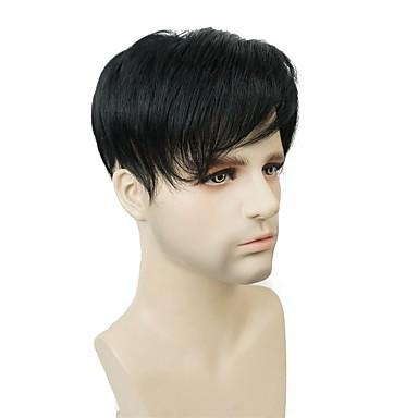 povoljno Perike i ekstenzije-Uniseks Sintentička kosa Tupe Ravan kroj Machine Made sintetički