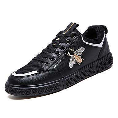 Herrn Komfort Schuhe PU Frühling Sneakers Weiß / Schwarz / Beige