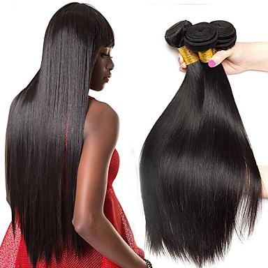 baratos Extensões de Cabelo Natural-4 pacotes Liso Não processado Cabelo Natural 100% Remy Hair Weave Bundles Cabelo Humano Ondulado Cuidados com Cabelo Cabelo Bundle 8-28 polegada Côr Natural Tramas de cabelo humano Macio Sedoso