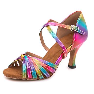 cheap Dance Shoes-Women's Latin Shoes PU(Polyurethane) Sandal / Sneaker Buckle Slim High Heel Customizable Dance Shoes Rainbow / Performance / Leather