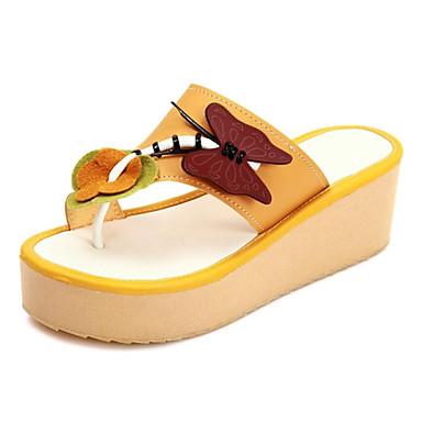 voordelige Damespantoffels & slippers-Dames PU Zomer Slippers & Flip-Flops Creepers Beige / Geel / Groen