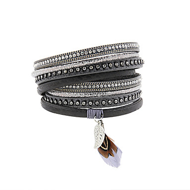 abordables Bracelet-Bracelets en cuir Bracelets de mémoire Femme Fantaisie Cuir Mode British Bracelet Bijoux Gris Vert Rose pour Cadeau Quotidien
