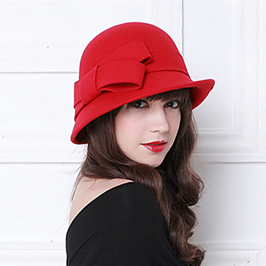 The Marvelous Mrs. Maisel Women's Adults' Ladies Retro / Vintage Cloche Hat Hat Gray Brown Red Bowknot Wool Lolita Accessories