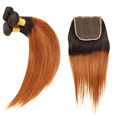 3 paketi s zatvaranjem Brazilska kosa Ravan kroj Remy kosa Ekstenzije od ljudske kose Kosa potke zatvaranje 10-24 inch Isprepliće ljudske kose Nježno Najbolja kvaliteta Novi Dolazak Proširenja