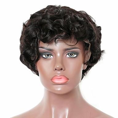 Virgin kosa Remy kosa Lace Front Perika Stepenasta frizura Srednji dio Stražnji dio stil Brazilska kosa Kovrčav Natural Perika 130% Gustoća kose Nježno Prirodno Prirodna linija za kosu Afro-američka