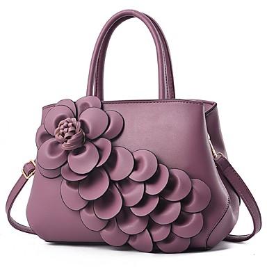 abordables Sacs-Femme Fleur PU Cabas Noir / Gris foncé / Violet