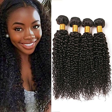 4 paketića Malezijska kosa Kinky Curly Ljudska kosa Ljudske kose plete Produžetak Bundle kose 8-28 inch Prirodna boja Isprepliće ljudske kose Nježno Svilenkast Prirodno Proširenja ljudske kose