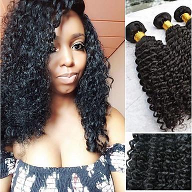 voordelige Weaves van echt haar-3 bundels Peruaans haar Kinky Curly Echt haar Niet verwerkt Menselijk Haar Wig Accessories Helm Menselijk haar weeft 8-28 inch(es) Natuurlijke Kleur Menselijk haar weeft Waterherfst Zacht Dik