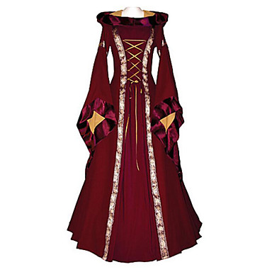 Witch Vintage Inspired Medieval Renaissance Wasp-Waisted Costume Women's Dress Red / Blue Vintage Cosplay Long Sleeve Flare Sleeve Scoop Neck Long Length