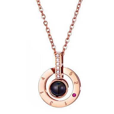 Žene Kubični Zirconia Ogrlice s privjeskom Klasičan dame Stilski Klasik Legura Zlato Pink 42+5 cm Ogrlice Jewelry 1pc Za Dnevno