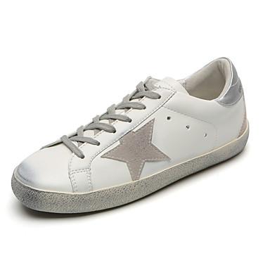 100% Vero Per Donna Similpelle Autunno Sneakers Piatto Nero - Argento #07063491