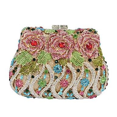 billige Vesker-Dame Krystalldetaljer / Blomst / Lomme Metall / PU Aftenveske Rhinestone Crystal Evening Bags Gylden / Svart / Hvit / Sølv