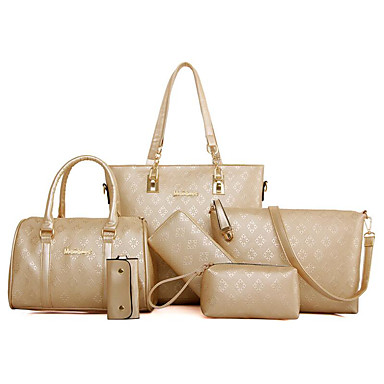 Women s Bags PU(Polyurethane) Bag Set 6 Pieces Purse Set Embossed Gold    Black   Beige 7e00c7d9b7b35