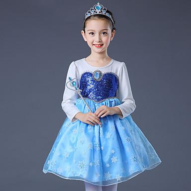 Elsa Cosplay Nošnje Dječji Djevojčice Haljine Božić Halloween Karneval Festival / Praznik Til Pamuk Plava / Pink Karneval kostime Princeza