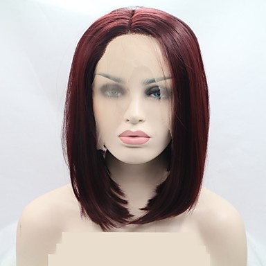 Synthetic Lace Front Wig Women s Curly Red Bob   Layered Haircut 130%  Density Synthetic Hair 12 inch Women Red Wig Short Lace Front Dark Red  Sylvia   ... 3001d5dc7