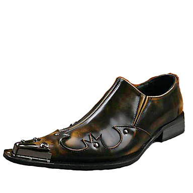 cheap Metal Pointed Toe Shoes-Men's Novelty Shoes Leather Spring / Summer Vintage / Comfort Oxfords Brown / Wedding / Party & Evening