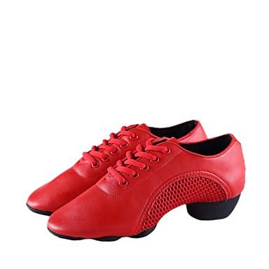 baratos Shall We® Sapatos de Dança-Mulheres Couro Sintético Tênis de Dança Têni Salto Grosso Personalizável Branco / Preto / Vermelho / Espetáculo / Ensaio / Prática