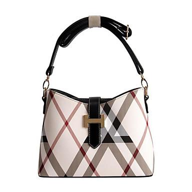 povoljno Odabrane vrećice-Žene Patent-zatvarač PU Torba za rame Bijela / Tamno smeđa / Lila-roza