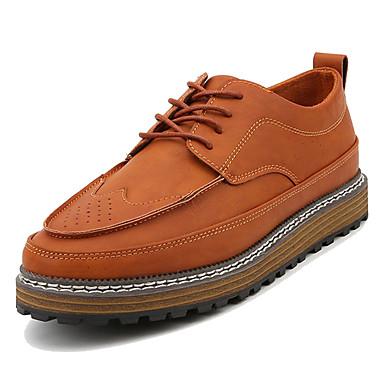 בגדי ריקוד גברים נעלי נוחות PU אביב נעלי אוקספורד שחור / אפור / חום