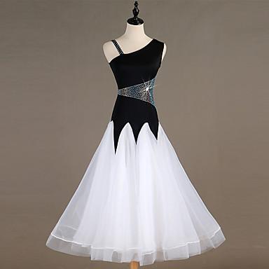 ชุดเต้นรำโมเดิร์น ชุดเดรสต่างๆ สำหรับผู้หญิง Performance สแปนเด็กซ์ ข้อต่อ / คริสตัล / พลอยเทียมต่างๆ เสื้อไม่มีแขน ชุดเดรส