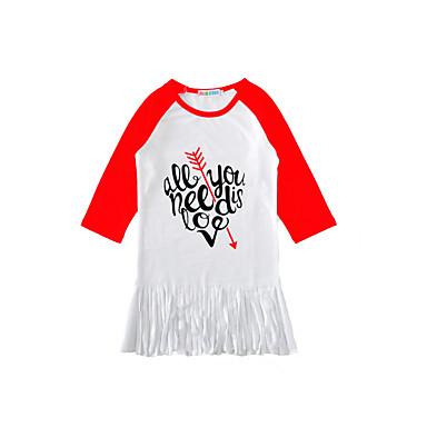 baratos Blusas para Meninas-Infantil Bébé Para Meninas Activo Básico Diário Para Noite Estampado Franjas Manga Longa Longo Algodão Camiseta Branco