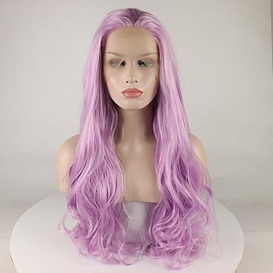 Pruik Lace Front Synthetisch Haar Dames Gekruld Paars Gratis deel 180% Human Hair Density Synthetisch haar 18-26 inch(es) Verstelbaar / Kant / Hittebestendig Paars Pruik Lang Kanten Voorkant Paars