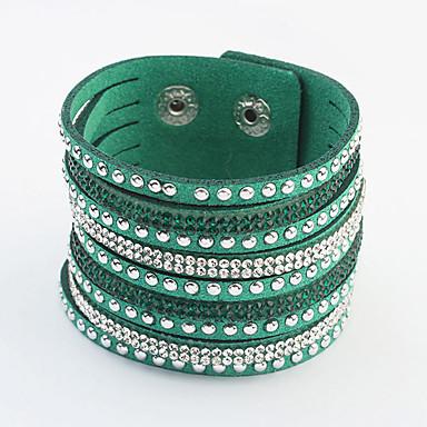 billige Motearmbånd-Dame Sjal Armbånd Multi Layer Europeisk Mote PU Leather Armbånd Smykker Grønn / Blå / Rosa Til Fest Daglig