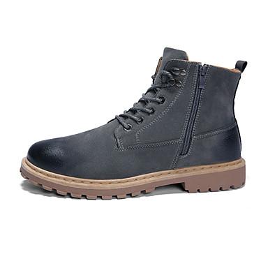 בגדי ריקוד גברים נעלי נוחות PU סתיו חורף מגפיים נושם מגפונים\מגף קרסול שחור / אפור / צהוב