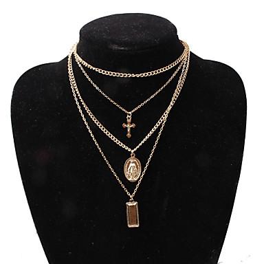 billige Mote Halskjede-Dame lagdelte Hals Kryss Kors Europeisk Mote Chrome Gull Sølv 35 cm Halskjeder Smykker 1pc Til Aftenselskap Ut på byen