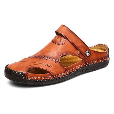 povoljno Novo u ponudi-Muškarci Udobne cipele Koža Ljeto Ležerne prilike Sandale Cipele za vodu / Obuća za rijeke Prozračnost Crn / Svjetlosmeđ / Tamno smeđa