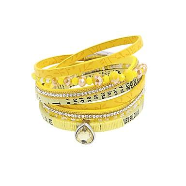 baratos Pulseiras de couro-Mulheres Pulseiras de couro Multi Camadas Vintage PU Leather Pulseira de jóias Amarelo / Azul Para Presente Diário